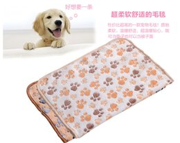 Wholesale Cute Warm Ups - 40 x 60cm Cute Floral Pet Sleep Warm Paw Print Dog Cat Puppy Fleece Soft Blanket Beds Mat