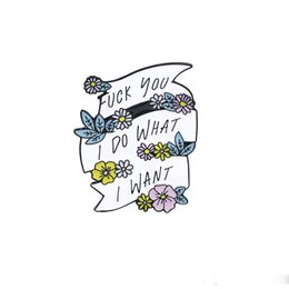 Pins de distintivo de botão on-line-Broche de fita de flor eu faço o que eu quero flor colorida bandeira esmalte Pin chapéu camisa botão crachá feminino amigo feminista presente