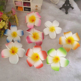 foam frangipani wholesale Coupons - Hawaiian Seaside Vacation Plumeria Flower 7cm For Women Decor Hairclip Bridal Wedding Party Foam Frangipani Hair Accessories 0 45nm YY