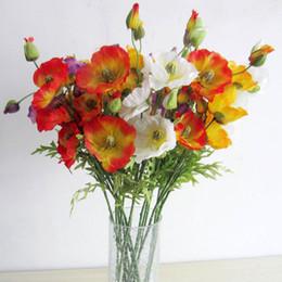 Wholesale silk poppy flowers - 5 PCS lot poppy simulation Artificial flowers household adornment Silk flowers single Creative furnishing articles Wedding decoration
