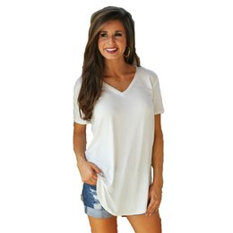 e37bf83c5ff 4XL 5XL Plus Size T-shirt Women Fashion Oversized Basic T Shirt Solid V  Neck Short Sleeve Rounded Hem Long Casual Party Wear Top