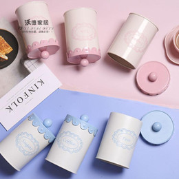 Wholesale Country Kitchen Sets - 2018 set three New Country city blue and pink lace iron canister for tea sugar coffee home furnising free shipping decoration kitchen