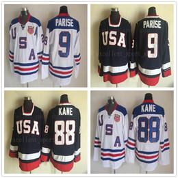 Wholesale usa olympic hockey - 2010 Olympic Team USA Hockey Jerseys 88 Patrick Kane 9 Zach Parise White Navy Blue USA Stitched Hockey Jersey S-XXXL