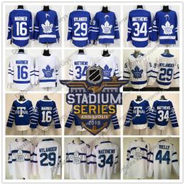 Wholesale Maple Leaf Gold - 2018 Stadium Series White Maple Leafs #34 Auston Matthews 16 Mitchell Marner 29 William Nylander Blue Toronto Hockey Men Youth Women Jersey