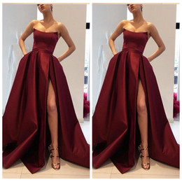 Wholesale sweetheart empire - 2018 Sweetheart A-Line Split Prom Dresses Pleated Satin Custom Formal Evening Party Gowns Cheap Sale Vestidos De Soiree