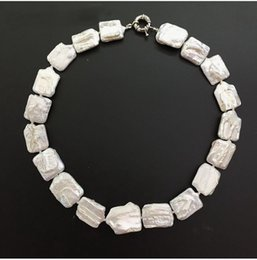 Wholesale Natural Keshi Pearls - new kind pearl necklace big size keshi Irregular Rectangle shape white pearls natural freshwater Cultured pearl special jewelry