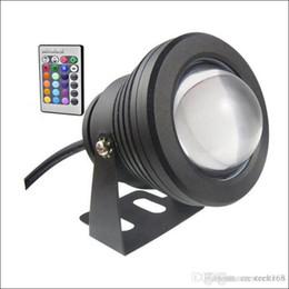 Carcasa de luz bajo el agua online-Proyector subacuático LED luz subacuática 10W LED fuente luz DC AC 12V con carcasa de aluminio IP68 1 control remoto IR