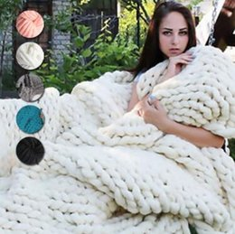 Wholesale Handmade Homes - 20 Colors 60*60cm Chunky Knit Blankets Merino Wool Handmade Blanket Sofa Air Condition Bed Weave Knitted Photography Blankets CCA8464 20pcs