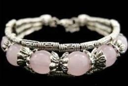 Bijoux tibétains bon marché en Ligne-Gros pas cher bijoux en argent tibétain à la main rose Jade Bracelet / livraison gratuite