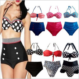 356bf4fa3392 Hohe Taille Bikini Frauen Vintage Pin Up Bademode Polka Dot Sexy Badeanzug  Mode Retro Biquini Maillot De Bain Badeanzug Beachwear B4043