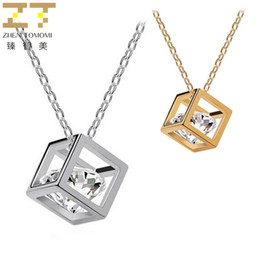 Wholesale Three Linked Hearts Necklace - 2018 New Collier Fashion Geometric Cubes Chokers Necklace Zircon Three-dimensional Square Pendant Necklacce For Women Jewelry