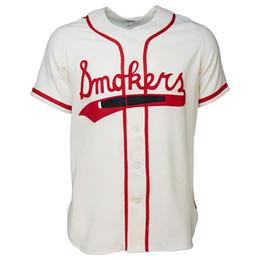 Camiseta de béisbol de costura personalizada online-Tampa Smokers 1951 Home Jersey 100% bordado cosido Logos Vintage Baseball Jerseys Custom Cualquier nombre Cualquier número Envío gratis