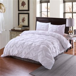 Wholesale King Grey Bedding Sets - Luxury Duvet Cover Set White Black Grey Pinch Pleat 2 3pcs Twin Queen King Bedding Sets (No filling,No sheet)