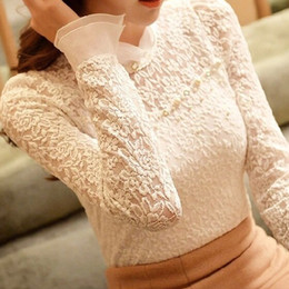 Wholesale puff sleeved blouse - 2018 New Fashion Chiffon Lace Shirt Blouse Women Shirts Turtleneck Female Long Sleeved Blouses Blusas Femininas Slim Shirt Tops Blusa