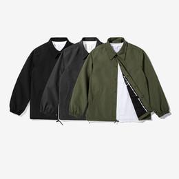 Wholesale Collar Hood - Custom wholesale fashion mens lapel collar drawstring polyester windbreak coat coaches jacket bomber jacket without hood