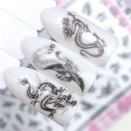 3d adesivi aquila online-Adesivi per unghie YZWLE 3D nero stile drago / aquila design unghie artistiche adesivi decalcomanie fai da te bellezza decorazioni creative