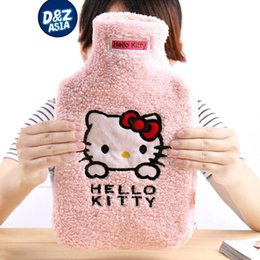 Wholesale Pvc Hot Water Bag - Hello kitty cartoon pink rubber hot water bottle water bag liner plush toys kids hand warmer