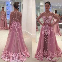 Wholesale Long Nude Prom Dresses - Trendy Floral Long Sleeve Evening Dresses Illusion Sheer Lace Custom Saudi Arabia 2018 Long Party Prom Dresses Pageant Gown Robe De Soiree