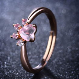 Wholesale open ring cat - Cute Bear Paw Cat Claw Opening Adjustable Ring Rose Gold Rings for Women Romantic Wedding Pink Crystal CZ Love Gifts Jewelry 080307