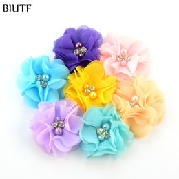 Wholesale chiffon flowers pearl diy - 27 Colors DIY Chiffon Flowers with pearl and rhinestone Fabric Flowers for girl headbands Headwear 200pcs lot Freeshipping MH22