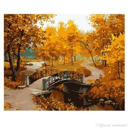 paesaggistica digitale Sconti Unframed Autumn Landscape DIY Digital Painting By Numbers Modern Wall Art Picture Kit regalo unico Home Decor opere d'arte