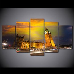 Wholesale Poster Printing London - 5 Piece Canvas Art HD Print Home Decor Houses Sky London Paintings For Living Room Wall Poster Picture Free Shipping UP-2289C