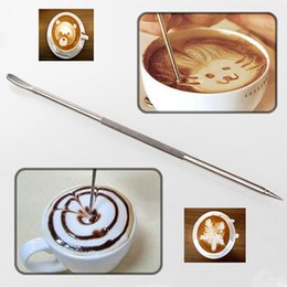 Wholesale Metal Garland - Coffee Latte Cappuccino Flower Pin Stipa DIY Fancy Coffee tools Garland Needle Stainless Steel Carved Stick Art Pen YYA1084
