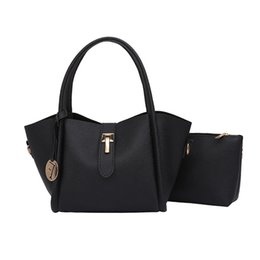 Wholesale dark brown hobo handbags - CANGTOUCUN Women Handbag Fashion Leather Combination 2 Sets Women Bag Solid Messenger Shoulder Bags Bolsa Feminina S-121