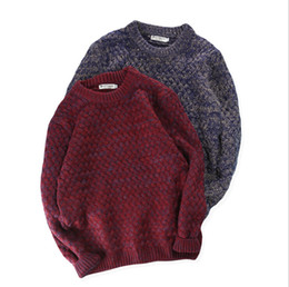 Wholesale vintage winter sweater - Vintage Pure Color Man's Sweaters Winter Spring Warm Fashion Design Crew Neck Sweaters