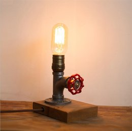 Wholesale Iron Table Lamp Vintage - Retro Iron Pipe Table Lamp AC110V 220V Dimmable Vintage LED Night Lamp for Bedroom Study Bar Cafe