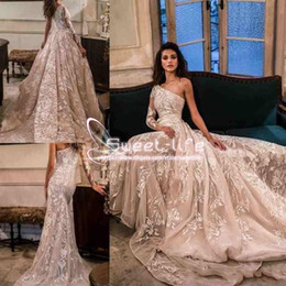 Wholesale Colorful Bohemian Dresses - Julie Vino Beach 2018 A Line Wedding Dresses One Shoulder Long Sleeve Full Applique With Detachable Skirts Bohemian Sweep Train Bridal Gowns