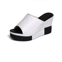 Semelles compensées peep toe en Ligne-Gladiateur Sandales Femmes Plateforme Coins Chaussures Pour Femmes Sandales 2018 Mode Été Dames Peep Toe Compensées Pantoufles Femmes Sandales D'été