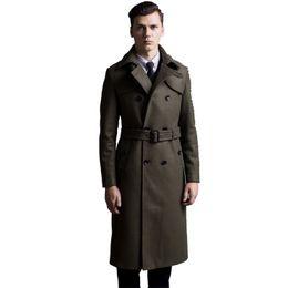 cappotto caldo britannico Sconti Cappotto di lana extra lungo maschile cappotto di lana a doppio petto britannico uomo slim fit classico verde militare caldo pea coat