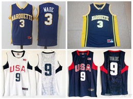 Wholesale dwyane wade shirt - Men's Marquette College #3 Dwyane Wade Jersey Navy Blue University Dwyane Wade 2008 USA Dream Team Stitched Basketball Jerseys Shirts