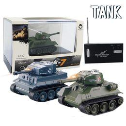 niños de radio de navidad Rebajas Enfriar Mini RC Tank Car 4CH Radio Control remoto vehículo LED luz 4 colores Happycow 777-215 juguetes para niños regalo de Navidad