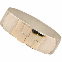 Wholesale Elastic Mirror Metal Belt - Women Sexy Belt Gold Metal Bling Mirror Plate Waist Stretch Elastic Band Elastic Stretch Waistband Waist Belt Accessories N2020