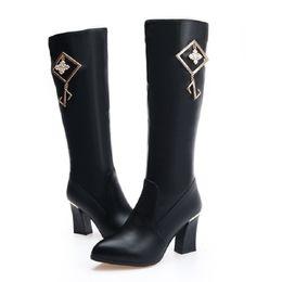 2018 новый женский коренастый пятки платье зимняя обувь продажа онлайн черный каблук колено высокие Мартин сапоги от