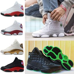 Wholesale Pink Brown Cotton Fabric - 2018 Cheap Retro 13 men basketball shoes Altitude 95 black cat bred black red white DMP GS Bordeaux Hyper Royal Wheat sports shoes