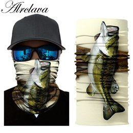 Wholesale fishing headwear - 3D Fish Printing Fishing Bandana Tube Neck Cycling Headscarf Face Mask Windproof Headwear
