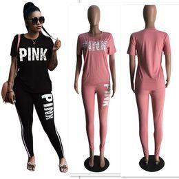 Wholesale Love Pink Shorts L - New Love Pink Women Tracksuits Pants T-shirts Set Print Short Sleeve Tops Shirts Leggings Trousers Spring Lady Jogging Sports wear S-3XL DHL