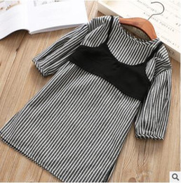 Wholesale Tank Tops Long Set - Children Spring outfits Girls stripe long sleeve dress+lace-up Bows suspender tank tops 2pcs sets 2018 new Kids Leisure clothing C2696