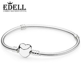 Wholesale Womens Anklets Charms - EDELL Genuine 100% 925 Sterling Silver Love Heart Womens Bracelet Fit DIY Anklet Charms Beads Genuine Fine Jewelry Gift