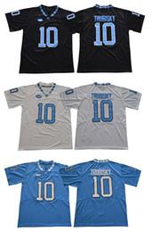 jerseys negros baratos del balompié Rebajas Hombres Tar Heels # 10 Mitch Trubisky Negro azul blanco cosido North Carolina College jerseys de fútbol Barato