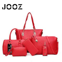 JOOZ Brand Luxury Knitting PU Leather Female Handbag 6 Pcs Women Composite  Bags Set Shoulder Crossbody Bag Lady Wallet Clutch fc64759280