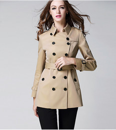 Wholesale Classic Khaki Trench Coat - HOT CLASSIC WOMEN FASHION ENGLAND MIDDLE LONG TRENCH COAT BRITISH DESIGNER DOUBLE BREASTED SLIM BELTED TRENCH FOR WOMEN