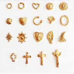 Wholesale Feather Tools - 40pcs Nail Decorations 2018 Popular Gold Cross Circle Heart Feather Nail Design NP298 Nails Art Tools Accessories
