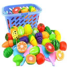 2019 cachorros de brinquedo de plástico para crianças 23 pçs / set plástico frutas legumes corte brinquedo com cesta de cozinha fingir jogar cedo simulação brinquedos educativos