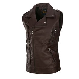Wholesale Leather Motorcycle Suits - The high-end washing Leather Vest Mens sleeveless Leather Motorcycle tide for men 2017 new leisure suit vest pocket solid color