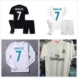 Wholesale Lavender Sets - 2018 New Real Madrid Adult Men Kits Soccer Jersey 17 18 Full Set Ronaldo Bale Football uniforms SERGIO RAMOS ISCO Shirts with Socks