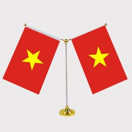 Wholesale National Stainless - Vietnam National Flag Table flag with stainless steel standard Your logo are welcome 14*21cm Y Style